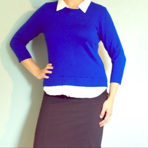 Blue 3/4 inch sleeve collared top
